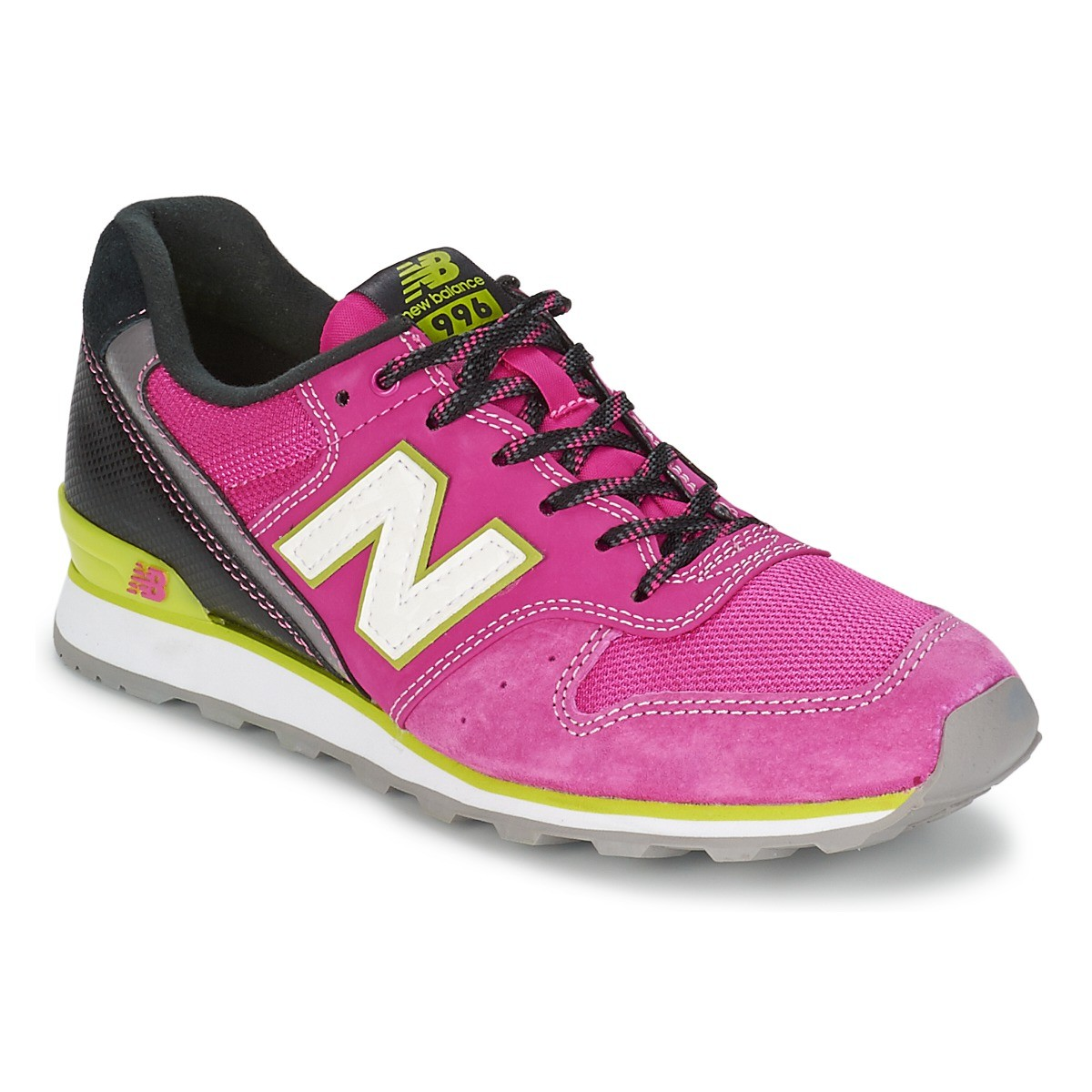 New Balance WR996 Womens Sneakers Rose Pink Black Grey White Volt Green