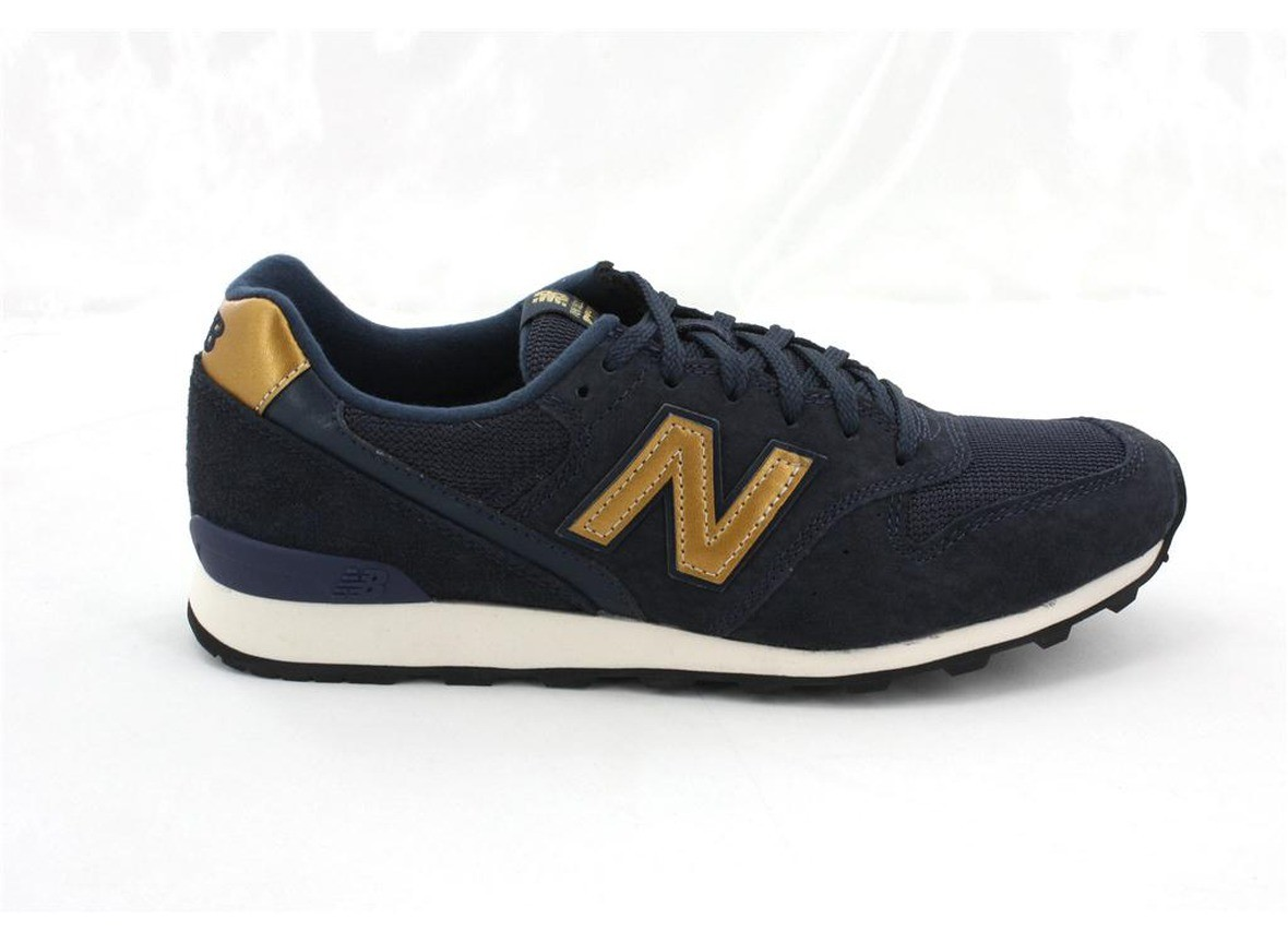 Women New Balance 996 Shoes Dark Navy Blue Gold