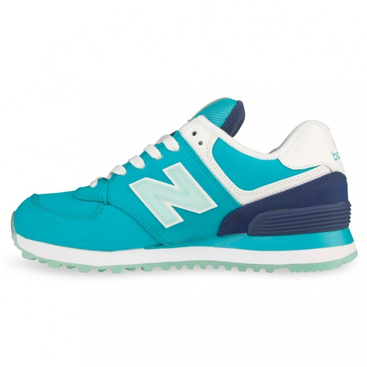 Womens New Balance 574 Sneakers Teal/White Sly