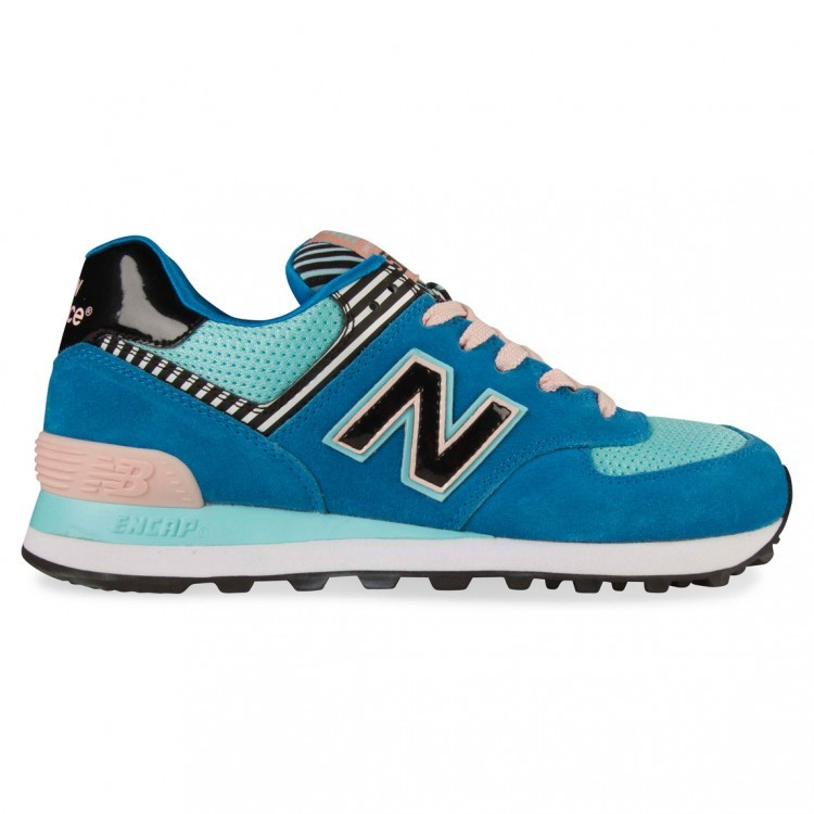 Women New Balance 574 Stripe Running Shoes Blue/Light Pink/Turquoise/Black