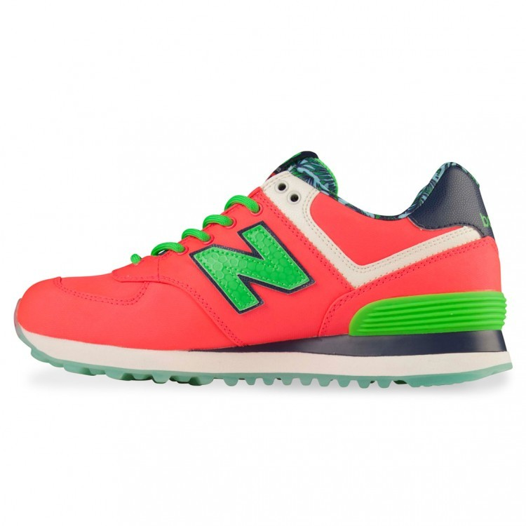 New Balance 574 Island Sneakers For Women Ilc Coral Flash Lime Green Dark Navy