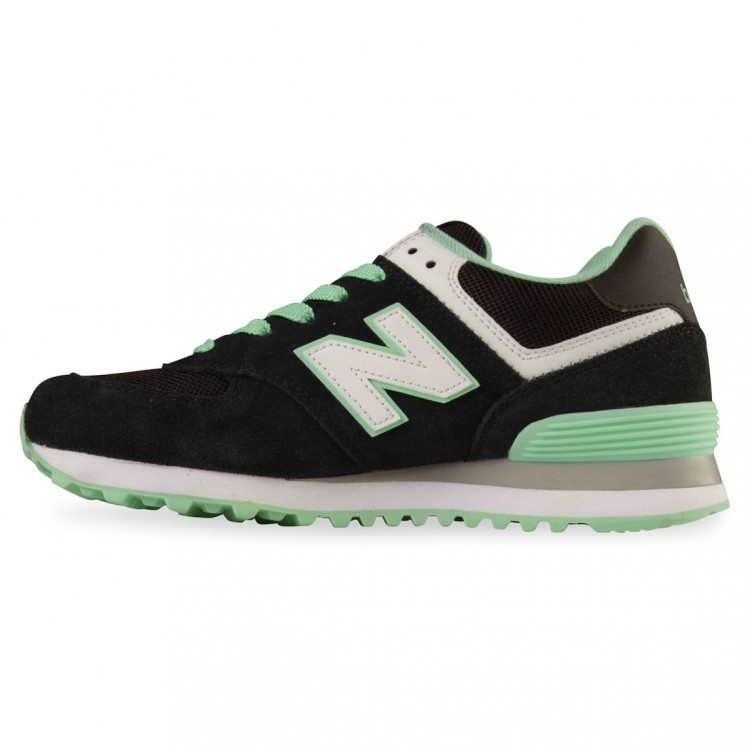 New Balance 574 Women Trainers Black/Mint/White Cpc