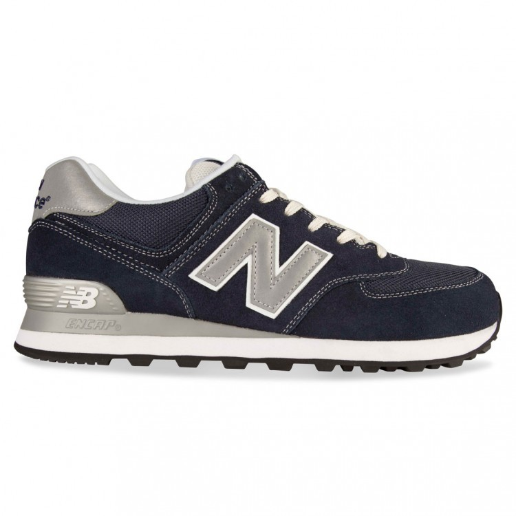 Men's New Balance 574 Running Shoes Navy Silver Grey ML574NVS