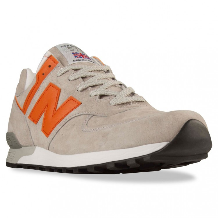 Mens New Balance 576 Made In UK Trainers Light Grey/Orange Pgo