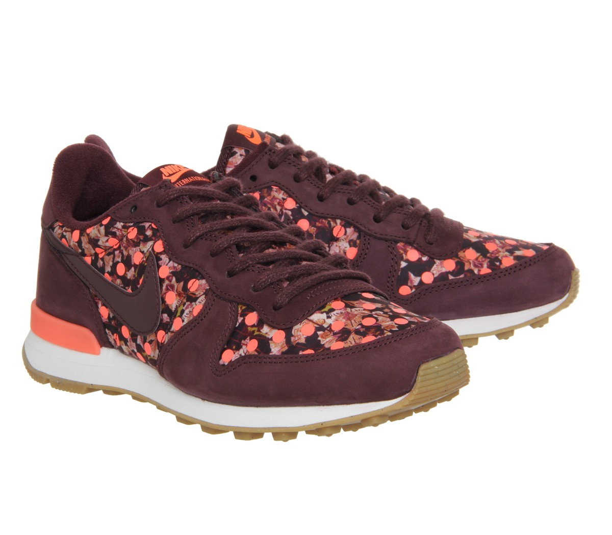 Nike Internationalist (w) Liberty Shoes Womens Deep Burgundy/Sail/Bright Mango 654938-600