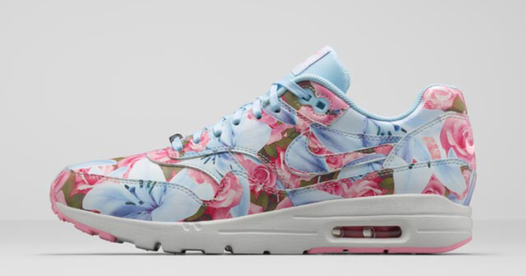 "Nike Air Max 1 Ultra Paris ""City Pack"" Print Famed Lilies Bloom Womens Shoes Ice Cube Blue/Summit White/Space Pink/Ice Cube Blue 747105-400"