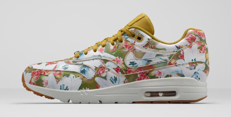 "Nike Air Max 1 Ultra Milan ""City Collection"" Print Lilies Bloom Womens Shoes Bronzine/Summit White/Metallic Gold/Bronzine 747105-700"