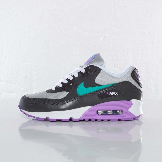 on sale cc56e 544b7 Nike Air Max 90 2007 GS Womens Start Grey Atomic Teal Night Stadium 345017