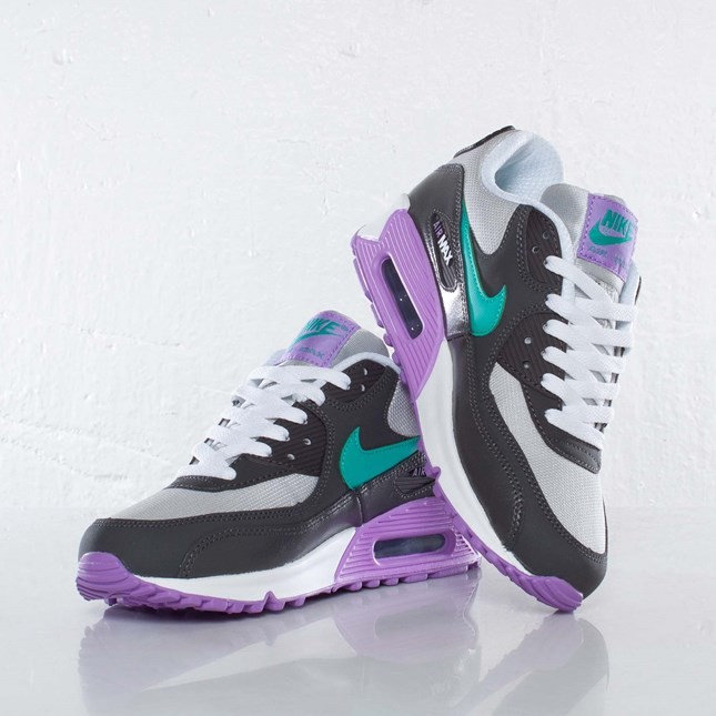 Nike Air Max 90 2007 GS Start Grey/Atomic Teal/Night Stadium 345017-014 Shoes