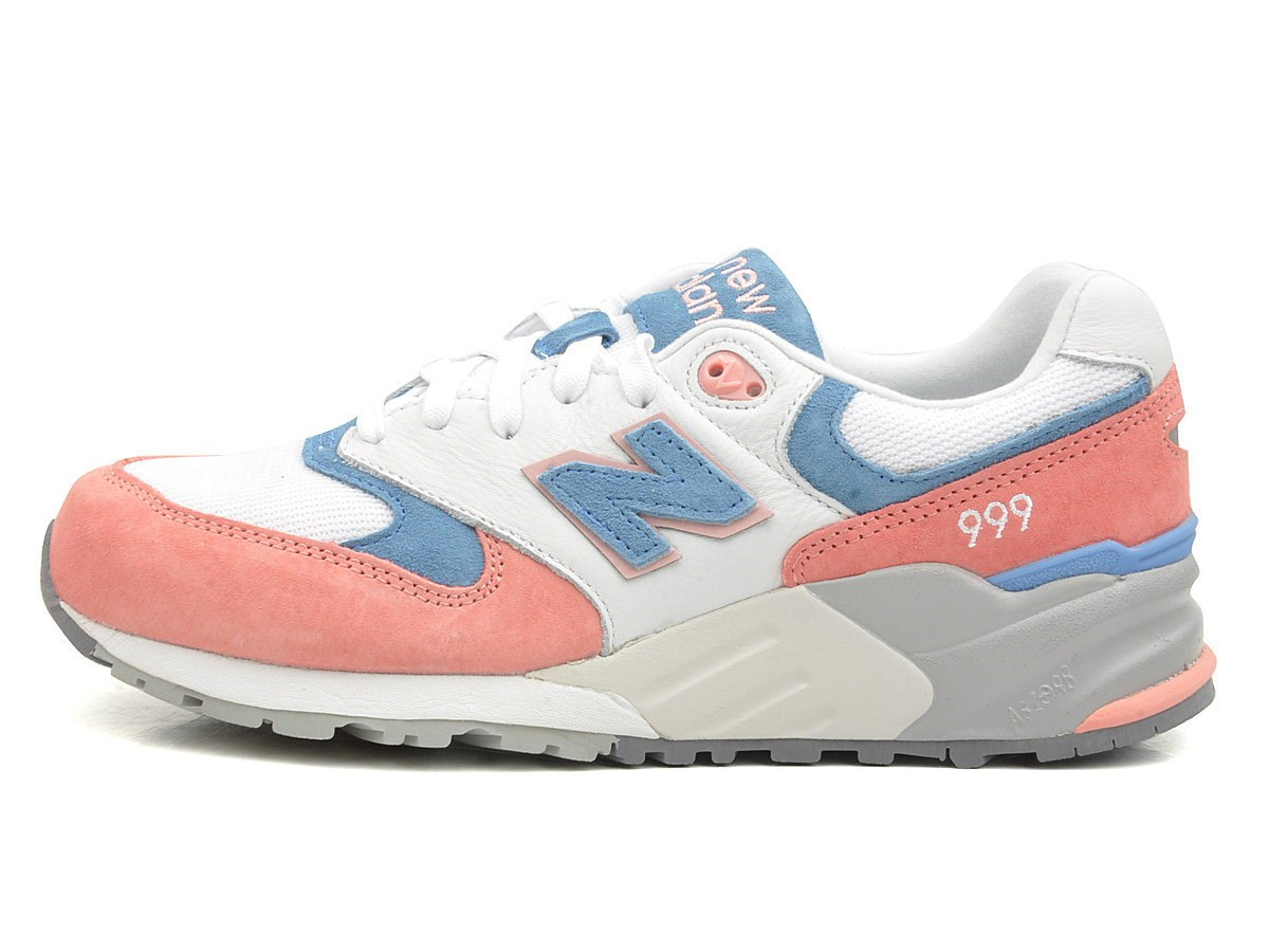 info for 14efe 1ae6c New Balance 999 ml999psw Women Running Sneaker Salmon Pink White Blue Grey